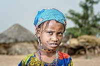 Portrait of a Mbororo girl from Cameroon wearing the beggining of the typical scarifications of this tribe on her face.