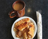 Apple pie and coffee at a cafe in Denver, CO.