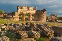 Ruins of ancient Hierapolis, Pamukkale, Denizli Province, Turkey.