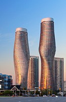 Absolute World Towers 4 & 5 (The Marilyn Monroe Towers) at sunset. Mississauga, Peel Region, Ontario, Canada.