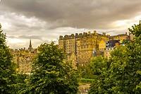 Edinburgh historical architecture in Summer, view from Princess Street, Scotland, UK