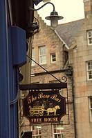 Close up of The Bow Bar sign in Edinburgh, Scotland, UK