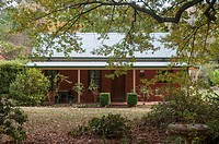 Modern brick cottage built in an ageless country-style, Wandiligong, northeast Victoria, Australia.