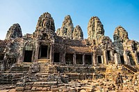 Prasat Bayon temple ruins, Angkor Thom, UNESCO World Heritage Site, Siem Reap Province, Cambodia.