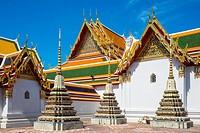 Stupas at Wat Pho (Temple of the Reclining Buddha), Bangkok, Thailand.