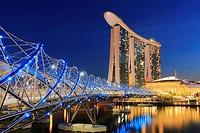 Marina Bay Sands and Helix Bridge at Dusk, Singapore.