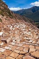 The terraced salt pans of Maras, Sacred Valley, Peru.