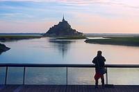 Mont St Michel,Sunset, Mont-Saint-Michel, Benedictine abbey, Pontorson, UNESCO, World Heritage Site, Manche, Normandy, France.