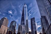 Dramatic image of One World Trade Center, New York, New York State, Lower Manhattan, USA.