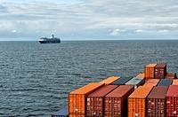 "Cargo ship meets cruise ship """"Mein Schiff"""" on Baltic Sea, Europe."