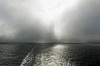 Sea fog clears over Baltic Sea, Europe.