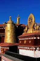 View of the gilded architecture at the Jokhang Temple in Lhasa, Tibet, China.