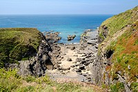 A beach in a small cove - Cornwall, Lizard Peninsula, England, UK on the South West Coast Path near Mullion.