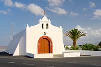 Christian church of Nuestra Senora del Socorro in village of Tiagua, Teguise, Lanzarote, Canary Islands, Spain.