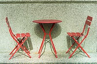 table and chairs, Vancouver, BC, Canada.