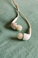 Close up of white earphones,Poona, Mahrashtra,India.