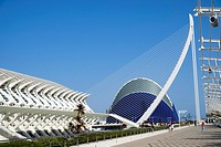 El Pont de l'Assut de l'Or , L'Ã. gora and Principe Felipe Science Museum in Valencia Spain.