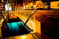 Entrance to underground car park at night. Barcelona, Catalonia, Spain.