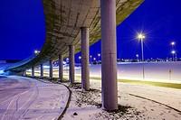 Smaralind Bridge in the wintertime, Kopavogur, Iceland.