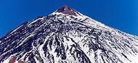 The volcanic summit of Mount Teide, a UNESCO World Heritage Site, viewed from Carretera del La Esperanza, La Orotava, Tenerife, Canarias, Spain.