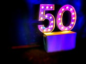 The number fifty in light bulbs.