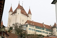 Thun, Switzerland - December 6, 2015: Castle view in the old town. Thun is a medieval city in the administrative district of Thun in the canton of Ber...