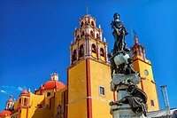 Our Lady of Guanajuato Paz Peace Statu Night Guanajuato, Mexico Statue donated To City by Charles V, Holy Roman Emperor, in the 1500s. Steeple, Towers...