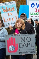 Detroit, Michigan USA - November 15, 2016 - Protesters picket the Federal Building, calling on the Army Corps of Engineers to revoke permits for the D...