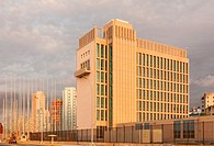 The back of the United States Embassy seen from The Malecon (Maceo Avenue) in Vedado, Havana, Cuba.