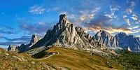 Nuvolau mountain above the Giau Pass (Passo di Giau), Colle Santa Lucia, Dolomites, Belluno, Italy.