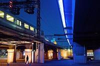 traffic and pedestrians under rail line near Market Street, Melbourne.