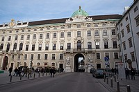 Europe, Austria, Vienna, Alte Hofburg. The entrance of Hofburg, the imperial palace of the Habsburgs, from the side of Michaelerplatz, Vienna, Austria