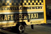 A microbrewer´s truck know as a craft beer taxi delevers the product in downtown Windsor, Ontario.