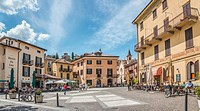 Piazza Garibadi at the town center of Menaggio at Lake Como, Lombardy, Italy