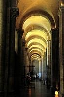 The Romanesque Basilica of Saint-Sernin, XI-XIIth centuries, is a UNESCO World Heritage Site. The aisle. Toulouse, Haute-Garonne department, Occitanie...