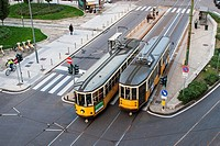 Tram, Milan, Lombardy, Italy.