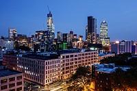 New York, New York City, NYC, Long Island City, view, downtown skyline, buildings, twilight, lights, night,