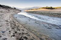 Drought at Burguillo reservoir. Avila. Castilla Leon. Spain. Europe.