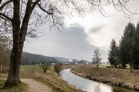 Trattnach River Passing through Bad Schallerbach in Winter, Austria