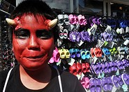 Chatan, Okinawa, Japan: Japanese boy at the American Village of Miyama during Halloween