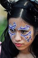 Chatan, Okinawa, Japan: girl at the American Village of Miyama during Halloween