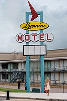 Lorraine motel neon sign, National Civil Rights Museum, National Civil Rights Museum.