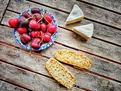 Healthy snack, Camembert Cheese, cherries and toasts