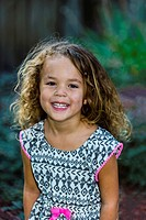 3 year old girl with beautiful curly hair, Littleton, Colorado USA.