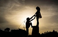 silhouettes of girls on the beach, Alcocebre, Castellon