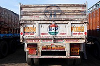 Trucks in India are often decorated featuring road safety slogans.