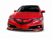 Red 2016 Acura TLX Luxury Sedan Custom Tuner Edition car isolated on white background with clipping path.