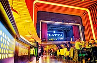 Platea Madrid, a gourmet food hall located in a former cinema on the Plaza de Colon. Madrid, Spain.