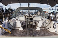 Dual wheels of a large ocean-going sailing vessel.