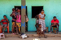 Hamer Tribeswomen Outside A Colourful Shop, Turmi, Omo Valley, Ethiopia.